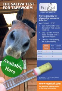 Advert for EquiSal Saliva Tapeworm Test